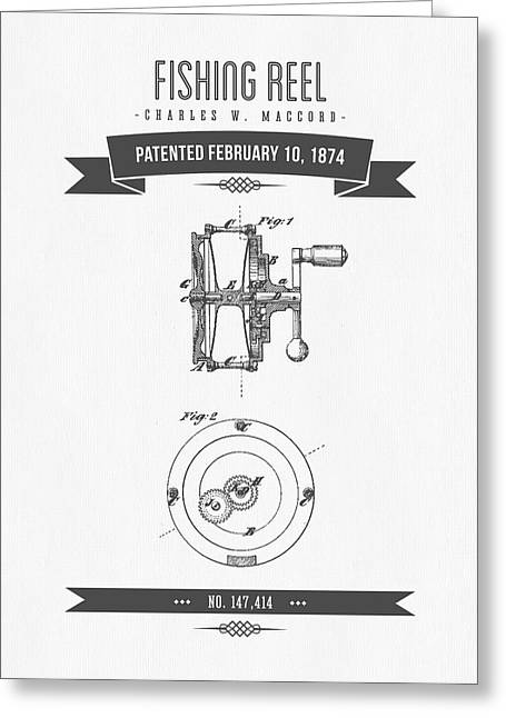 1874 Fishing Reel Patent Drawing Greeting Card by Aged Pixel