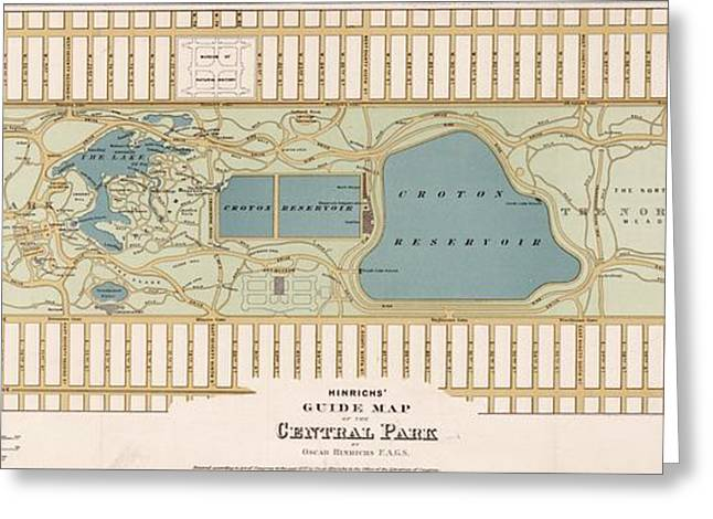 1875 Central Park Map Greeting Card