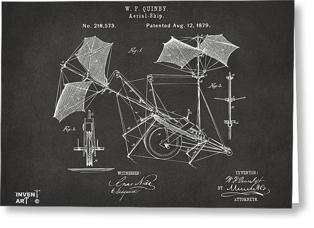 1879 Quinby Aerial Ship Patent - Gray Greeting Card