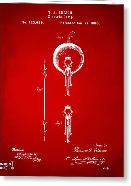 1880 Edison Electric Lamp Patent Artwork Red Greeting Card by Nikki Marie Smith