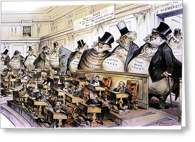 1880s 1889 Puck Political Cartoon Greeting Card