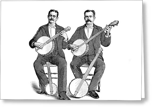1880s 1890s Two Men Playing Classical Greeting Card