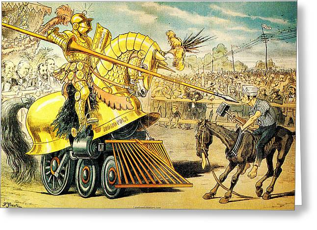 1880s A Tournament Of Today Puck Graetz Greeting Card