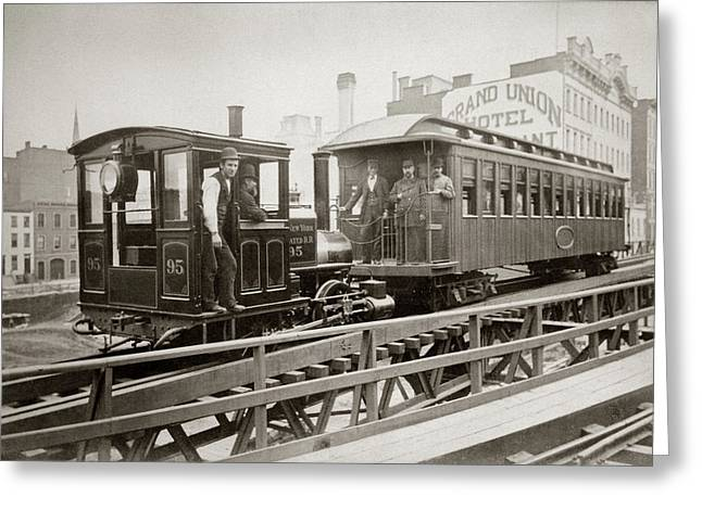 1880s Men On Board Elevated Locomotive Greeting Card