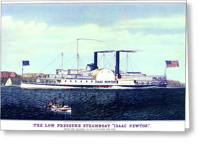 1880s The Low Pressure Steamboat Isaac Greeting Card