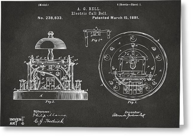 1881 Alexander Graham Bell Electric Call Bell Patent Gray Greeting Card by Nikki Marie Smith
