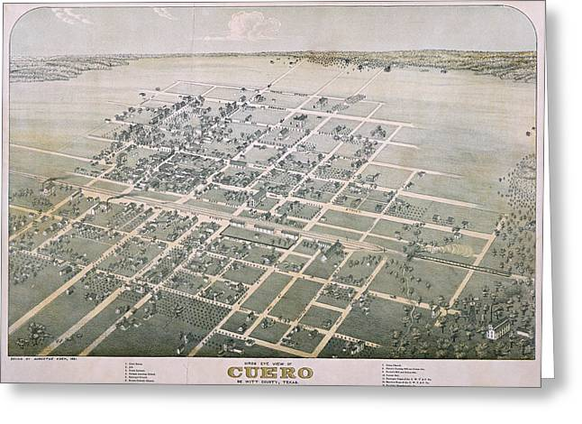 1881 Antique Map Of Cuero Texas Greeting Card by Stephen Stookey
