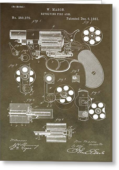 1881 Firearm Patent Greeting Card by Dan Sproul