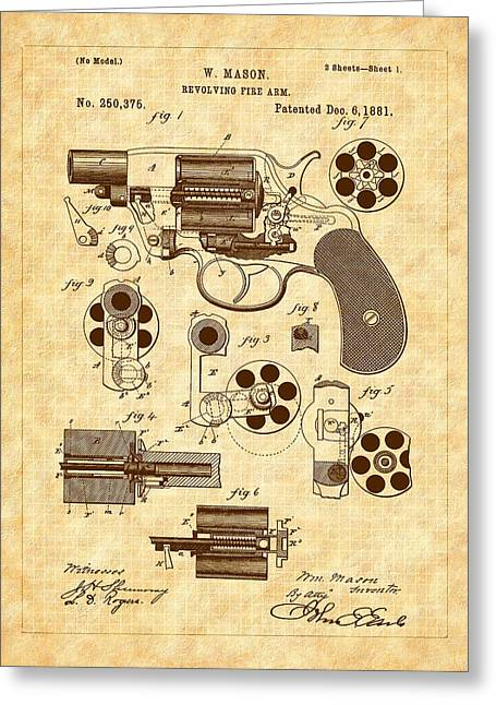1881 Mason Revolver Firearm Patent Greeting Card