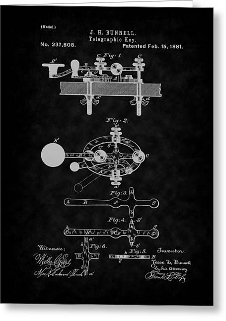 1881 Telegraph Key Patent Art-bk Greeting Card