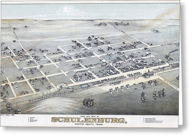 1881 Vintage Map Of Schulenburg Texas Greeting Card by Stephen Stookey
