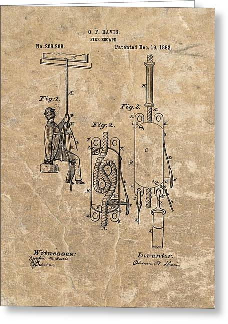 1882 Fire Escape Patent Greeting Card