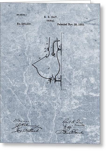 1882 Urinal Patent Blue Greeting Card