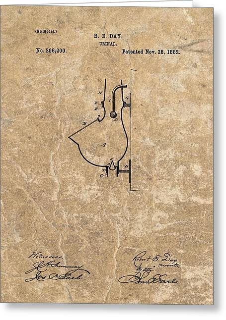 1882 Urinal Patent Greeting Card by Dan Sproul