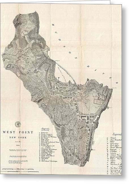 1883 West Point Map Greeting Card