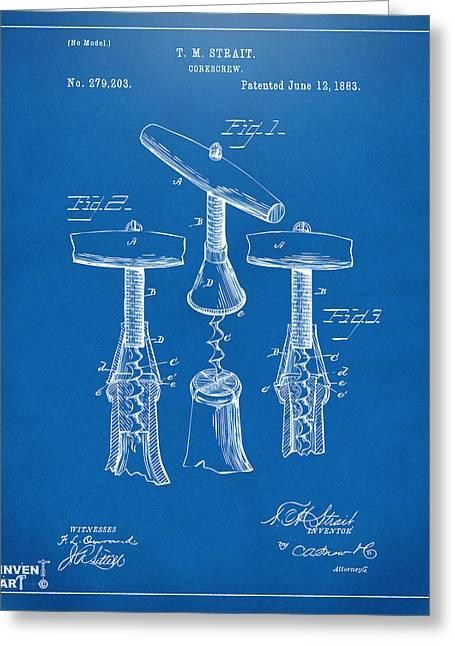 1883 Wine Corckscrew Patent Artwork - Blueprint Greeting Card