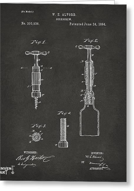 1884 Corkscrew Patent Artwork - Gray Greeting Card