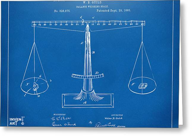 1885 Balance Weighing Scale Patent Artwork Blueprint Greeting Card