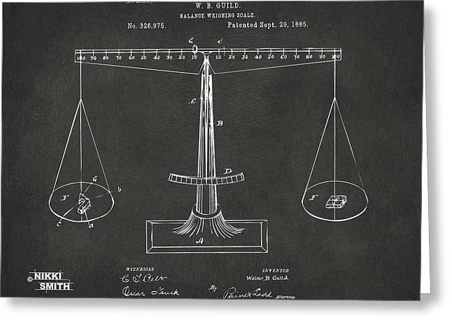 1885 Balance Weighing Scale Patent Artwork - Gray Greeting Card