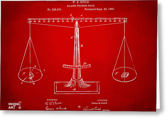 1885 Balance Weighing Scale Patent Artwork Red Greeting Card