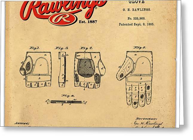 1885 Baseball Glove Patent Art Rawlings 2 Greeting Card