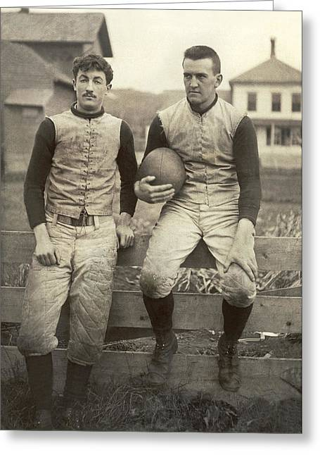 1885 Football Players Greeting Card by Underwood Archives