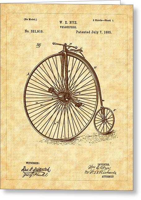 1885 Nye Velocipede Patent Greeting Card by Barry Jones