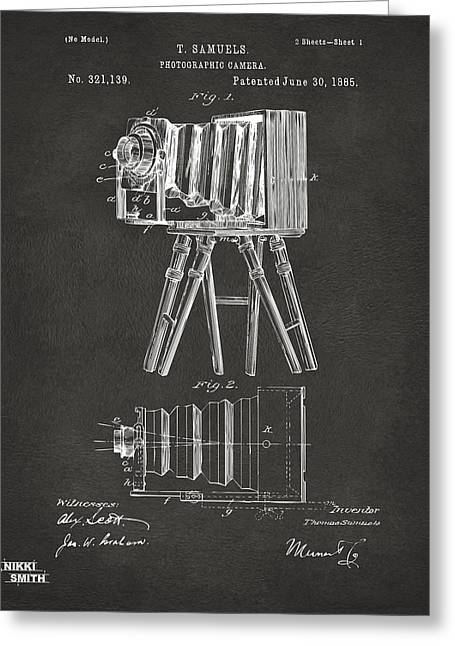 1885 Samuels Camera Patent Artwork - Gray Greeting Card by Nikki Marie Smith