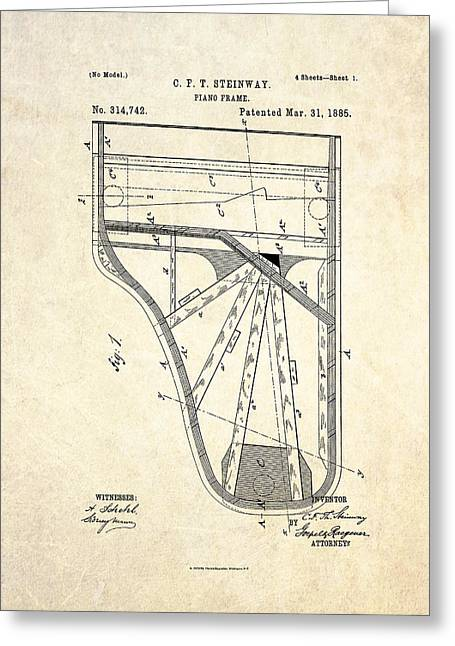 1885 Steinway Piano Frame Patent Art Greeting Card