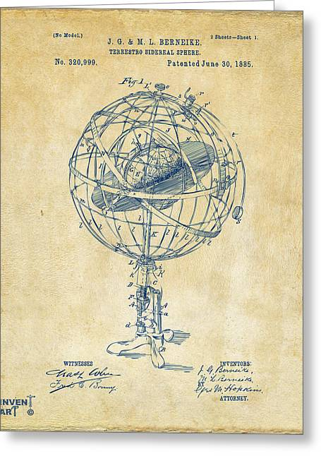 1885 Terrestro Sidereal Sphere Patent Artwork - Vintage Greeting Card by Nikki Marie Smith