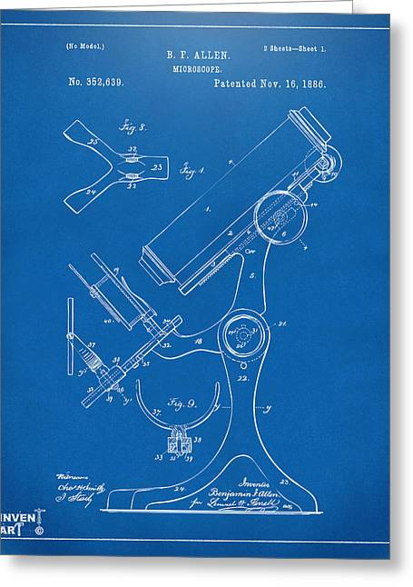 1886 Microscope Patent Artwork - Blueprint Greeting Card by Nikki Marie Smith
