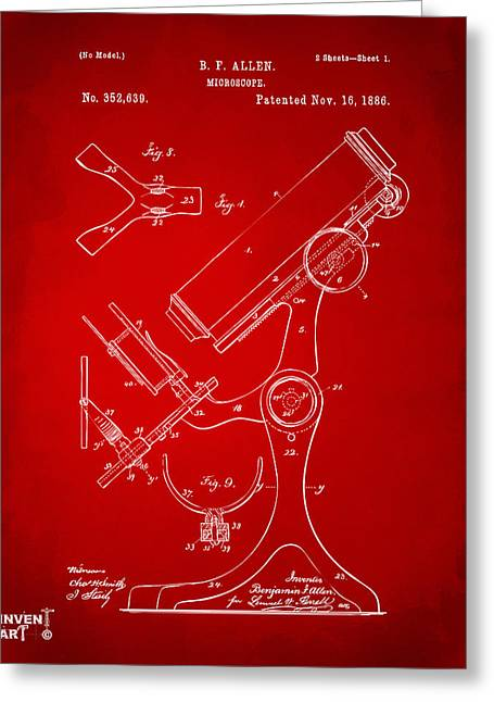 1886 Microscope Patent Artwork - Red Greeting Card by Nikki Marie Smith