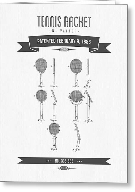 1886 Tennis Racket Patent Drawing - Retro Gray Greeting Card by Aged Pixel