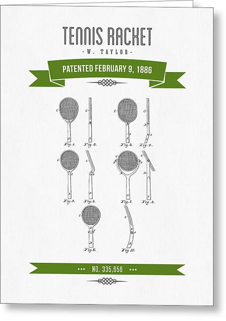 1886 Tennis Racket Patent Drawing - Retro Green Greeting Card by Aged Pixel