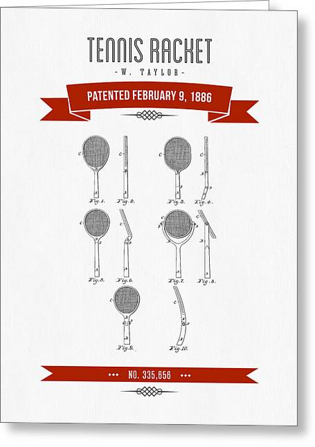 1886 Tennis Racket Patent Drawing - Retro Red Greeting Card by Aged Pixel