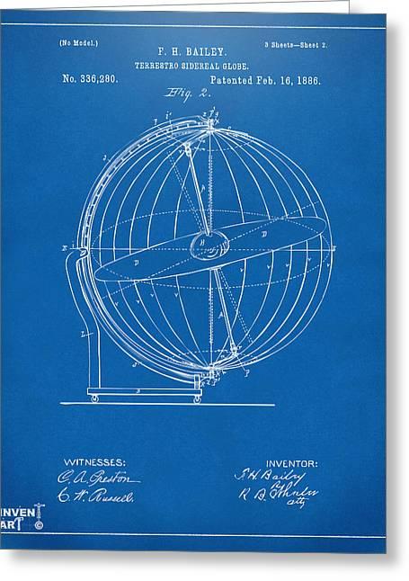 1886 Terrestro Sidereal Globe Patent 2 Artwork - Blueprint Greeting Card