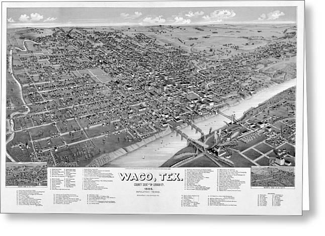 1886 Vintage Map Of Waco Texas Greeting Card