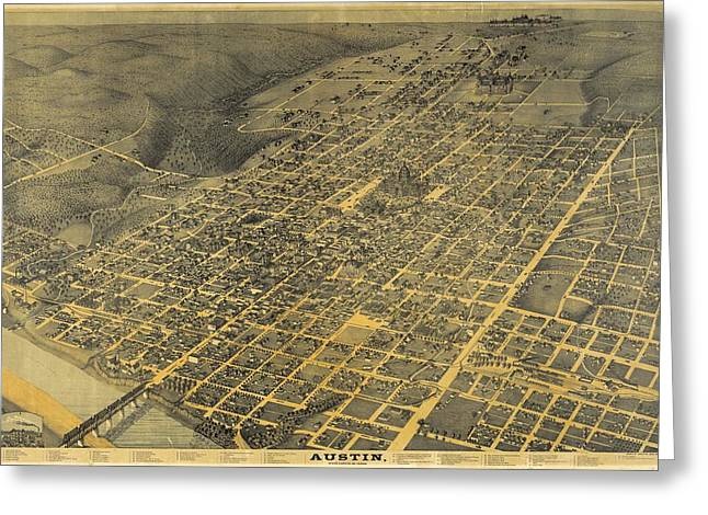 1887 Austin Texas Map Greeting Card by Dan Sproul