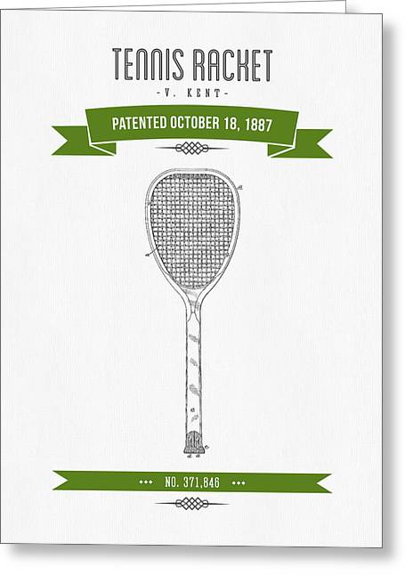 1887 Tennis Racket Patent Drawing - Retro Green Greeting Card by Aged Pixel