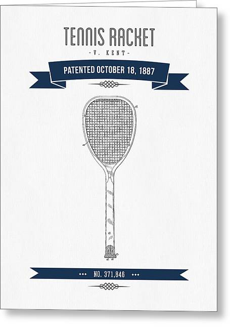 1887 Tennis Racket Patent Drawing - Retro Navy Blue Greeting Card by Aged Pixel
