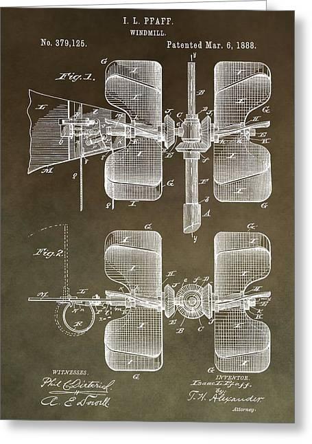 1888 Windmill Patent Greeting Card
