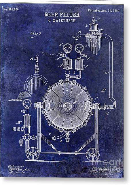 1889 Beer Filter Patent Drawing Blue  Greeting Card by Jon Neidert