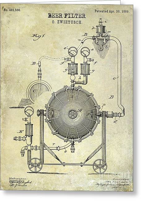 1889 Beer Filter Patent Drawing Greeting Card by Jon Neidert