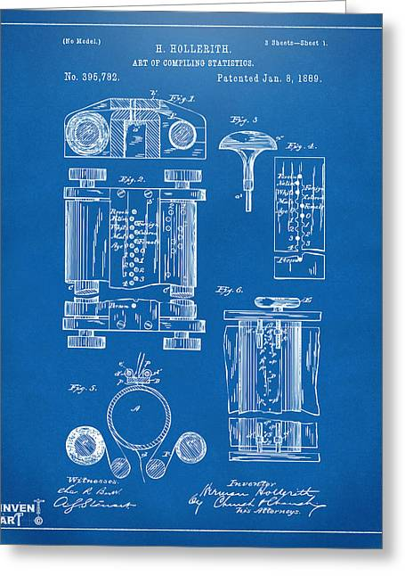 1889 First Computer Patent Blueprint Greeting Card by Nikki Marie Smith