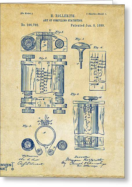 1889 First Computer Patent Vintage Greeting Card by Nikki Marie Smith