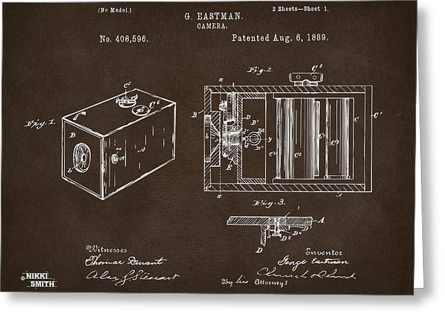 1889 George Eastman Camera Patent Espresso Greeting Card by Nikki Marie Smith