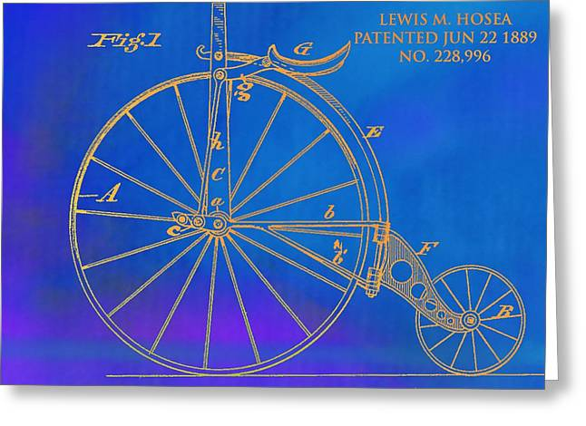 1889 Velocipede Patent Greeting Card by Dan Sproul