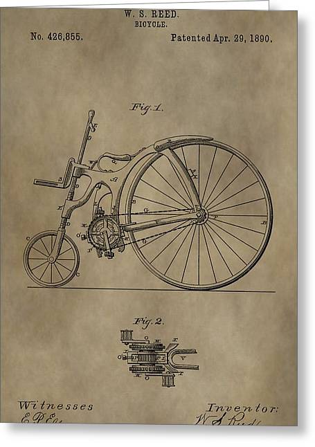 1890 Bicycle Patent Greeting Card by Dan Sproul