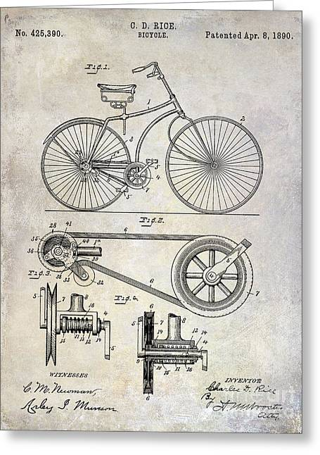 1890 Bicycle Patent Drawing Greeting Card by Jon Neidert