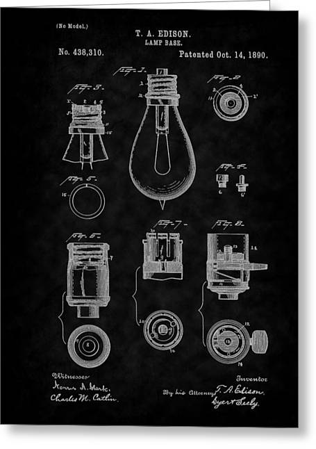 1890 Edison Lamp Base Patent Art-bk Greeting Card by Barry Jones
